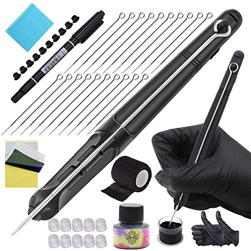 Romlon Hand Poke and Stick Tattoo Kit - Professional Hand Poke Pen Tattoo Kit DIY Tattoo Kit Tattoo Needles Tattoo Ink Clean & Safe Stick & Poke Tattoos for Tattoo Artist Tattoo Kit Tattoo Supplies