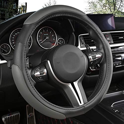 Black Panther Car Steering Wheel Cover with 3 Sections Anti-Slip Design, 15 inch Universal - Grey