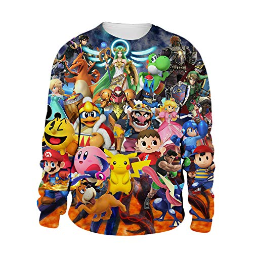 Super Smash Bros Pullover De diseño de Moda Sudaderas cómodo Abrigos de Manga Larga Outwear el suéter Hermoso Bastante Animado Imprimir la Camiseta Unisex Unisex