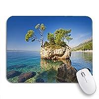 NINEHASA 可愛いマウスパッド 青い風景ブレラクロアチア緑の美しさ自然ビーチシーン滑り止めゴムバッキングコンピューターマウスパッドのノートブックマウスマット