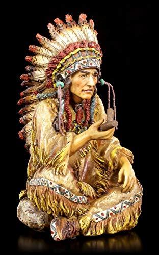 Indianer Häuptling Figur mit Friedenspfeife   Western Deko Statue