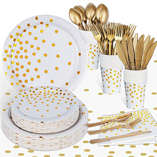 Gold Party Supplies Bridal Shower Party Plates and Napkins Sets - Including Tablecloth Gold Paper Plates Napkins Cups Silverware for Girl Baby Shower Bachelorette Decorations 169PCS