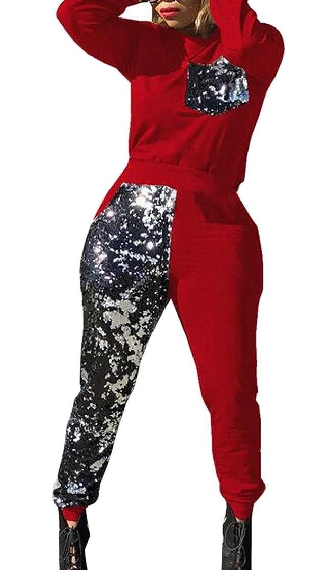 祝福する特別に慢女性2ピース衣装スパンコールラウンドネックスウェットシャツとパンツセット