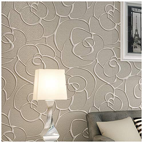 QIHANG Modern Minimalist Embossed 3D Rose Flower Non-woven Wallpaper Cream&Gray Color 0.53m(1.738' W) x 10m(32.8' L)=5.3㎡(57 sq.ft)