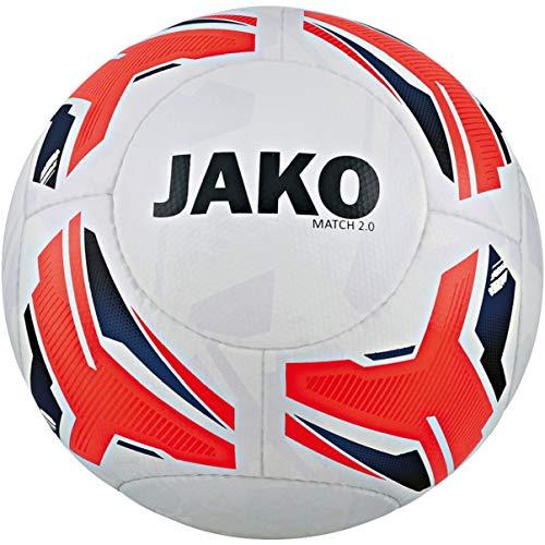 JAKO Unisex– Erwachsene Match 2.0 Trainingsball, weiß/Flame/Navy, 5