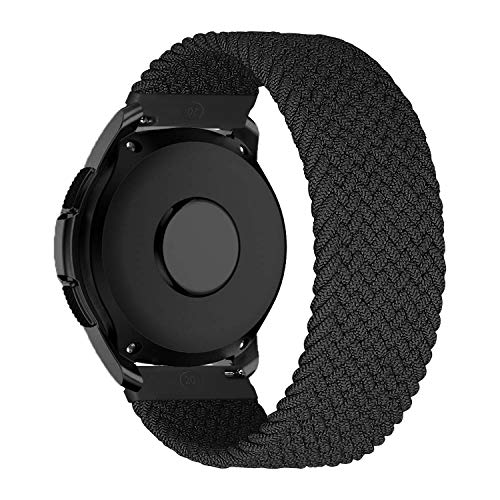 MroTech Compatible con Samsung Galaxy Active/Active2 40mm/44mm/Galaxy Watch 3 41mm/Galaxy 42mm Correa de Nailon elástico 20mm Pulseras de Repuesto para Huawei GT 2 43 mm Banda Nylon Woven Loop-Negro/S