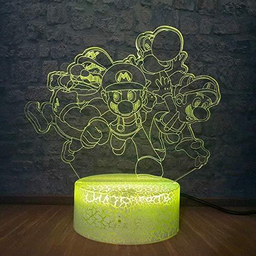 Luz De La Noche Del 3D Luz Nocturna De 7 Colores Dibujos Animados 7 Colores Touch Sensor Lámpara Cargador Usb Dormitorio Decoración Regalo De Cumpleaños Para Niños