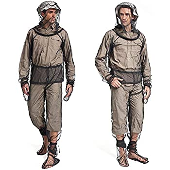 Sofiey 4 Pieces Mosquito Net Suit– Jacket Hood& Pants& Mitts& Socks Sets Light-Weight& Breathable Mesh Clothing for Men& Women Ideal for Fishing Hiking Camping Farming and Gardening  S/M