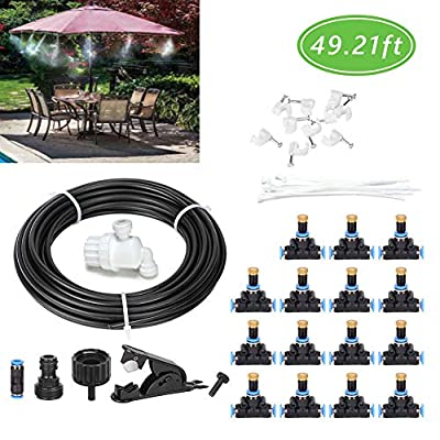 XuSha Misting System Cooling Fan Cooler Patio Garden Water15 m/49ft Misting Line with 15 Brass Mist Nozzle for Patio Garden Umbrellas Greenhouse Trampoline