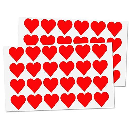 Pack de 1200, Pegatinas Gomets Corazónes Rojas - 25 mm
