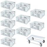 10er SPAR-Set Euro-Stapelbehälter PLUS GRATIS Transportroller, 600x400x240 mm Industriequalität lebensmittelecht weiß