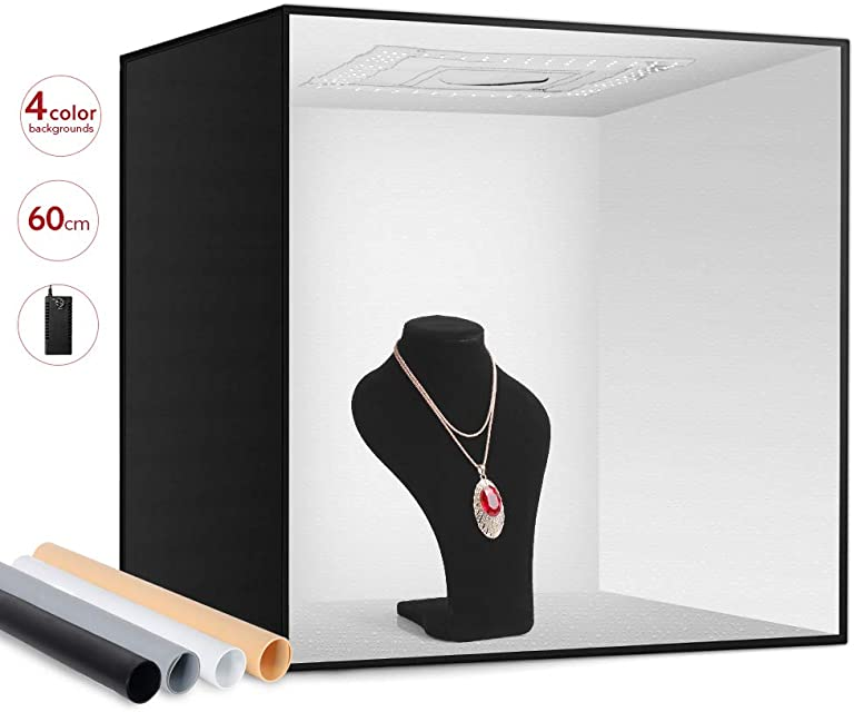 ESDDI Photo Studio Light Box 24/ 60cm Brillo Ajustable Portátil Plegable Gancho y Loop Stand Profesional Cuadro de Mesa Fotografía Kit de iluminación 156 Luces LED 4 Fondos de Colores