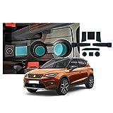SXCY Alfombrillas de goma para Seat Ibiza Arona para consola central antideslizantes, para reposabrazos de coche, soporte para bebidas, alfombrilla de almacenamiento accesorios de interior azul