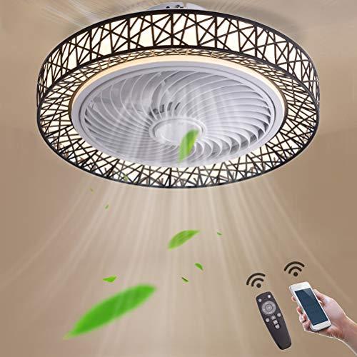 Deckenventilator mit Licht und Fernbedienung, 72W LED Fan Deckenleuchte Ventilator Leise, Einstellbare Windgeschwindigkeit, Kann Timing Fan Beleuchtung Kinderzimmer Esszimmer Deckenlüfter,Schwarz