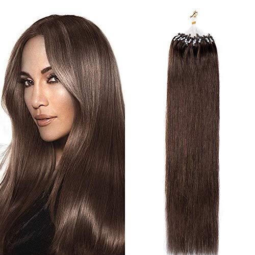 50cm - Extension Capelli Veri Microring 100 Ciocche 50g Remy Hair Loop Anelli Extension Capelli Naturali Lisci - 4 Marrone Cioccolato