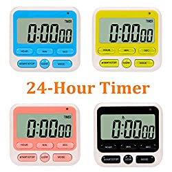 24-Hours Digital Kitchen Timer, Upgraded 12-Hour Display Clock, Big Digits, Loud Alarm, Magnetic Backing Stand, Count-Up & Count Down, Kids Timers for Cooking Baking Classroom Teachers Games(4 Pack)