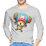 Lu-Ffy - Camiseta de manga larga para hombre, estilo informal, 100% algodón, cuello redondo, manga larga, cómoda y de impresión, gris, M