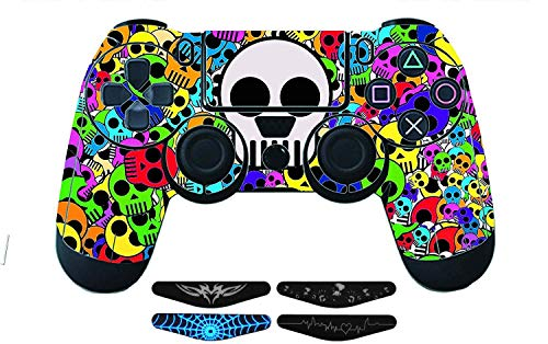 Graphixdesign PS4 Controller Designer 3M Skin for Sony PlayStation 4 , PS4 Slim , Ps4 Pro DualShock Remote Wireless Controller - COLOR SKULLS , Skin for One Controller Only