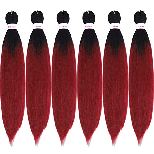 Pre Stretched Braiding Hair Extensions Ombre Burgundy Kanekalon Braid Hair Hot Water Setting Yaki Perm Crochet Hair for Beautiful Women(1B99J)