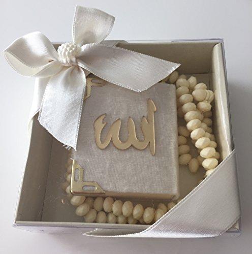 Mini Kuran & Gül Kokulu Tesbih 99'lu süslü Kare Kutu Içinde (10 Adet) / Mini Koran & Parfümierte Gebetskette mit Rosenduft und 99 Perlen in schöner Geschenkverpackung (10 Stück) (Beige)