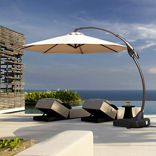 Grand patio Deluxe Napoli 11 FT Curvy Aluminum Offset Umbrella, Patio Cantilever Umbrella with Base,...