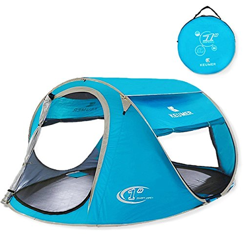 ZOMAKER Pop Up Tent 2-4 Person, Beach Tent Sun Shelter for Baby with UV Protection, Automatic and Instant Setup Tent for Family (Light Blue)