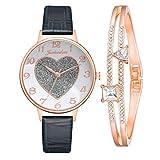 Damenuhr mit Lederarmband Klassische Analog Quarz Armbanduhr mit Rosegold Armband Einfach Mode Herzförmig Matt Dial Uhren für Frauen (Mehrfarbig-G)