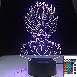 Lámpara de ilusión 3D Led Night Light Dragon Ball Z Gohan Figura Decoración de dormitorio infantil Cool Kids Gift Anime Gadget Dragon Ball