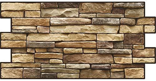 PVC Plastic Wall Panels 3D Decorative Tiles Cladding - Exclusive Stone (Pack 24 pcs/10,94 sqm)…
