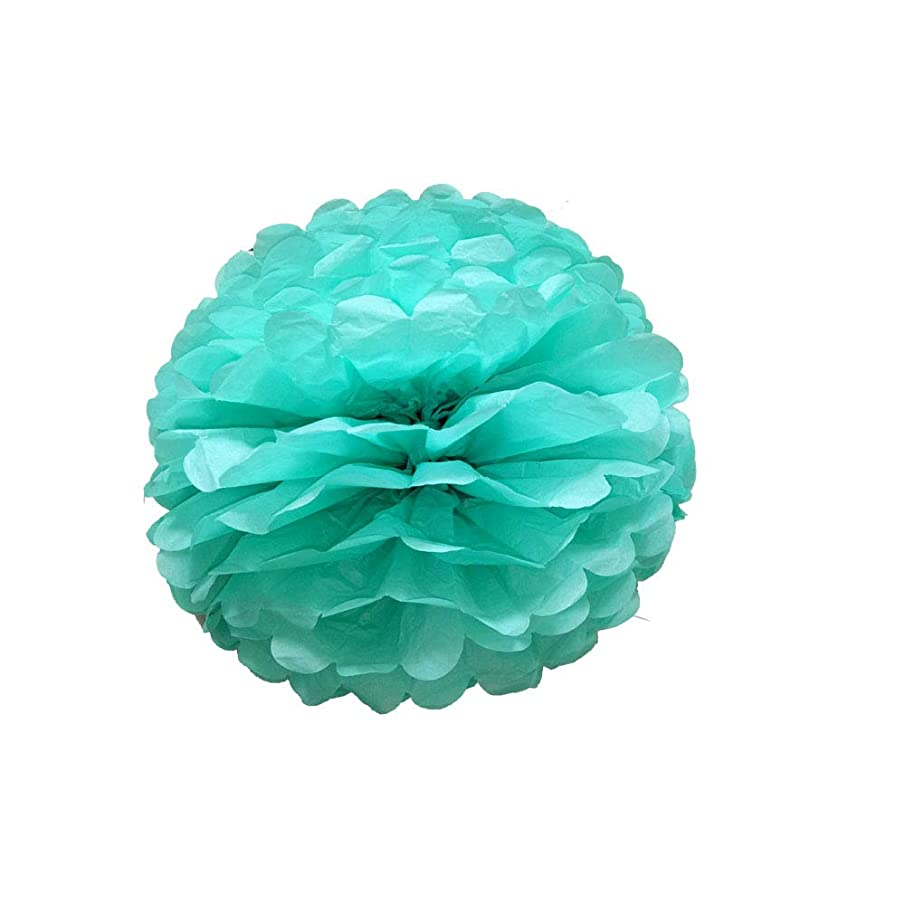 X-Sunshine 10pcs 8'' 10'' 12'' 14'' Hanging Paper Flower Tissue Paper Pom Poms Flower Paper Flower Balls for Birthday Baby Shower Wedding Festival Decorations (14'', Turquoise Green)