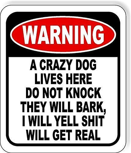 Unique Wall Decor-12x16Inch,Warning A Crazy Dog Lives Here Do Not Knock A3027 Tin Wall Signs Warning Sign Metal Plaque Poster Iron Painting Art Decoration for Bar Cafeacute Hotel Office Bedroom Garden