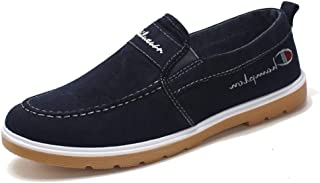 Men's Shoes Washed Denim Canvas Board Tendon Bottom Trend Casual Shoes Student Shoes (Color : Blue, Size : 42)