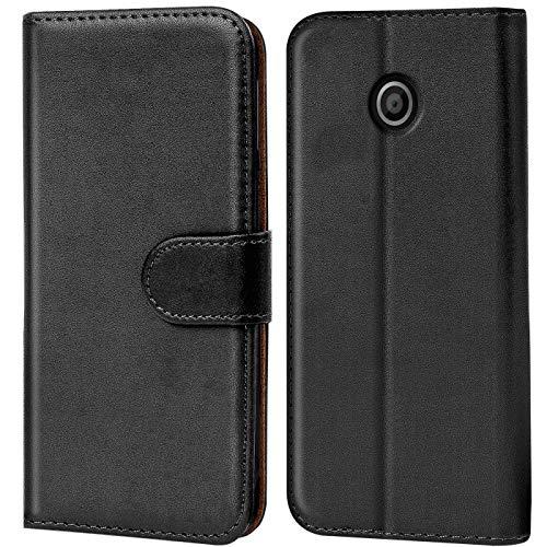 Verco Moto E1 Hülle, Handyhülle für Motorola Moto E 1 Gen. Tasche PU Leder Flip Hülle Brieftasche - Schwarz