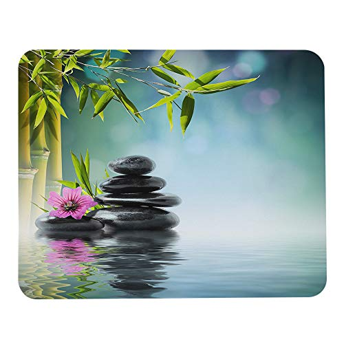 Wozukia Artistic Conception Mouse Pad Tower Black Stone and Hibiscus with Bamboo on The Water Meditation Relaxation Gaming Mouse Mat Non-Slip Rubber Base Mousepads for Laptop Computer 9.5x7.9 Inch