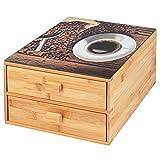 bremermann Caja para cápsulas de café de bambú con placa de cristal decorativa.