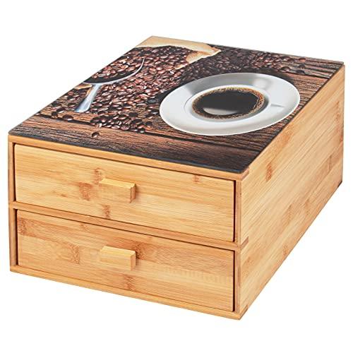 bremermann Caja para cápsulas de café de bambú con placa de cristal...