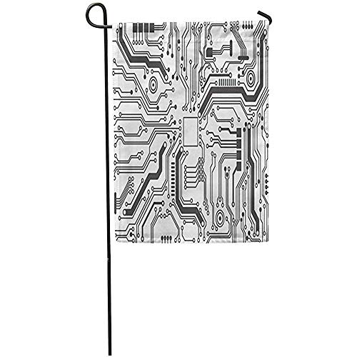 Novelcustom House Yard Flags,Computer-Leiterplatte-Chip-Motherboard-Abstrakte Schwarze Linie Dekorative Haus-Yard-Flagge Im Freien 30X45Cm