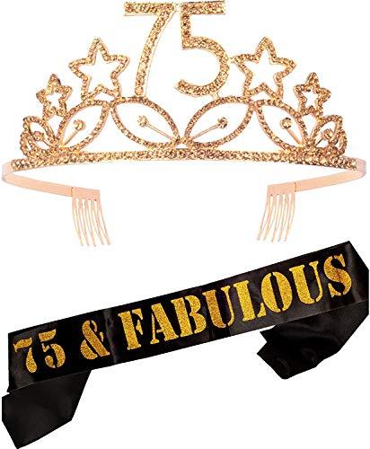 75th Birthday Gifts for Woman, 75th Birthday Tiara and Sash Gold, HAPPY 75th Birthday Party Supplies, 75 & Fabulous Glitter Satin Sash and Crystal Tiara Birthday Crown for 75th Birthday Party Supplies