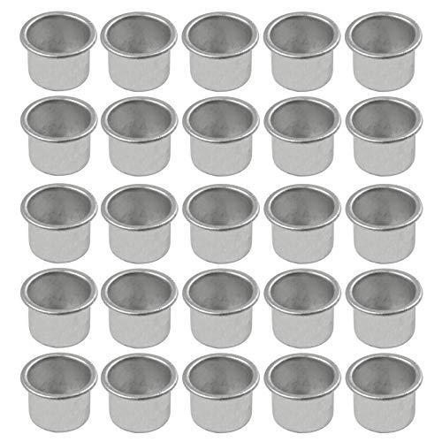 Mini Kerzenhalter aus Metall Kerzeneinsätze aus Metall Kerzenleuchter Set Metall Deko Kerzenständer für Baumkerzen, Puppenkerzen, Pyramidenkerzen Tafelkerzen und Teelichter, Teelichthalter(25 Stück)