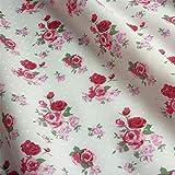 Meterware, Polyester-Baumwoll-Gemisch, gepunktet mit Rosenmotiv, verschiedene Farben erhältlich Pink