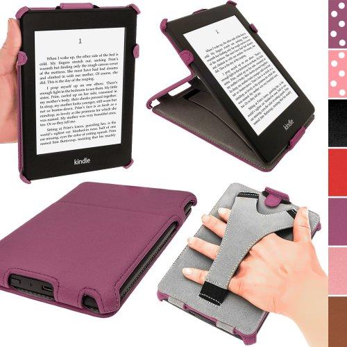 iGadgitz U2658 Heat Molded Custodia in Eco-Pelle Compatibile con Kindle Paperwhite 2014/2013/2012, Modello con Microfibra Interna Antimacchia, Viola
