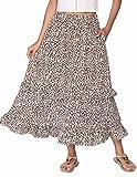 Zeagoo Leopard Print Elastic Waist Skirts for Women Below Knee Length Pleated Skirt Leopard Maxi Skirt Boho Elastic Band Midi Skirt S