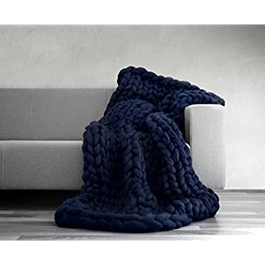 EASTSURE Knit Acrylicl Blanket Hand-made Chunky Bed Sofa Throw Super Large,Navy,40 x79
