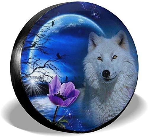 MODORSAN Wolf Moon Fantasy Cubierta de neumático de Rueda de Repuesto de poliéster Cubiertas de Rueda universales para Jeep, Remolque, RV, SUV, camión, Accesorios, 15 Pulgadas