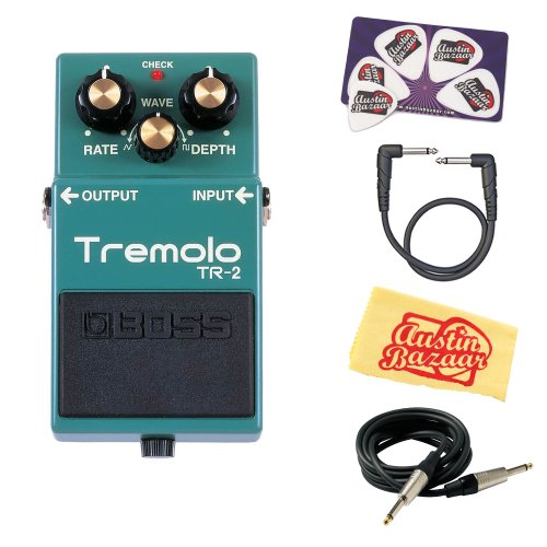 Boss TR-2 Tremolo Bundle with Instrument Cable, Patch Cable, Picks, and Austin Bazaar Polishing Cloth