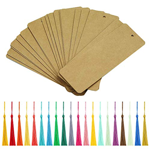Vankcp 120 Pieces Blank Kraft Paper Bookmark with Colorful Tassels Gifts Tags Cardstock for Kids, DIY Art Projects, School Supply, Crafts, Stationery (5'' x 2'') (Brown Bookmarks)