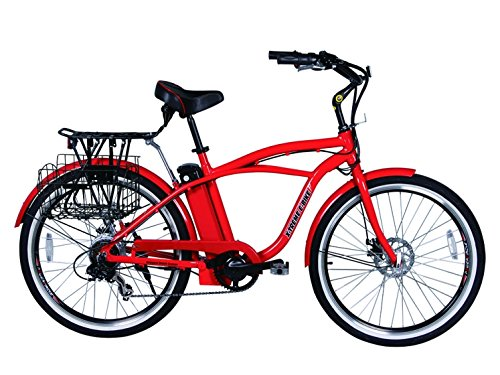 Newport Premium Red --X-Treme Malibu Beach Cruiser Lithium Battery Electric Bicycle, Red Color