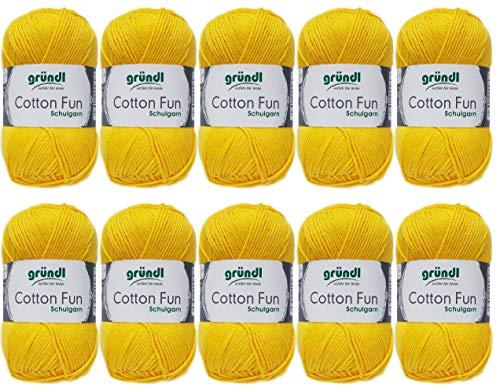 10x50g Gründl Cotton Fun Häkelgarn Strickgarn inkl. detallierter Anleitung für EIN Meerschweinchen (Fb. 04 Sonnengelb)
