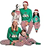BaZhaHei-Navidad Familia Pijamas Ropa de Dormir Juego de Navidad de Mujeres mamá Casual Santa Camisetas de Pantalones de Mujer Hombre Niño Conjunto de Pijamas caseros de Manga Larga Pantalón