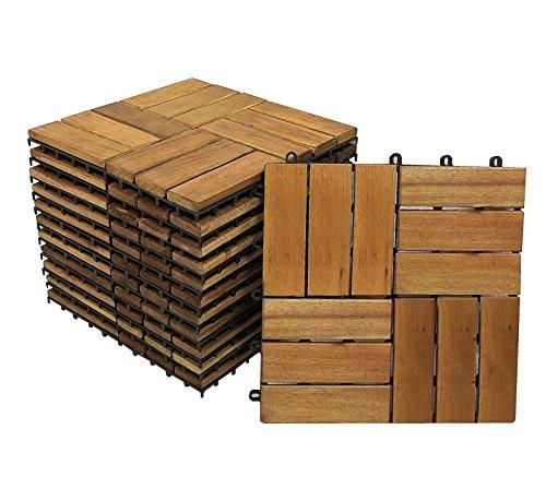 Holzfliesen 02 9 Stück 0,8 m² Hartholzfliesen aus Akazienholz für Balkon Terrasse Garten mit Drainage Klicksystem